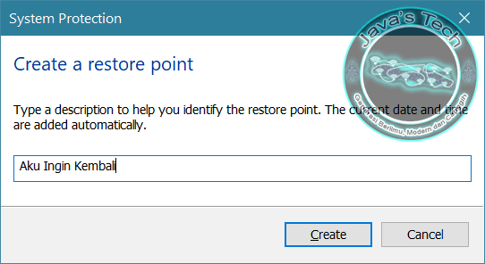 Beri Nama Untuk Restore Point