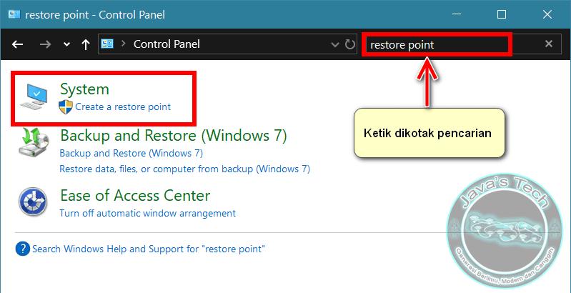 Buka System Restore di Control Panel