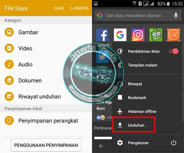 File Manager dan Menu Unduhan