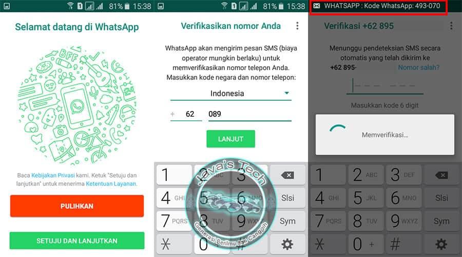 Pengisian Nomor Telepon dan Proses Verifikasi