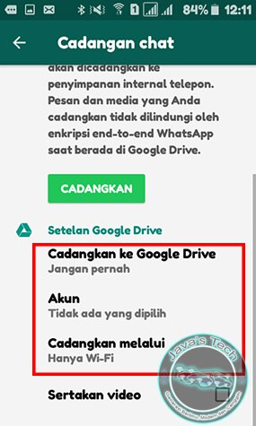 Atur Pencadangan Chat WhatsApp