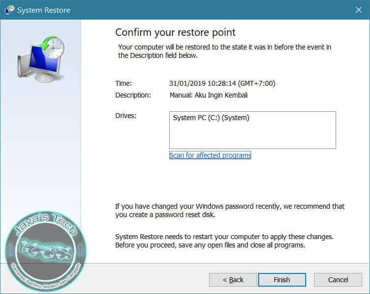 Proses Ketiga System Restore