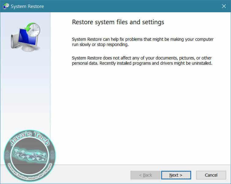Proses Pertama System Restore