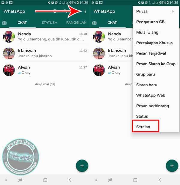 Buka Setelan WhatsApp