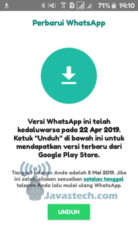 WhatsApp MOD Telah Kadaluarsa