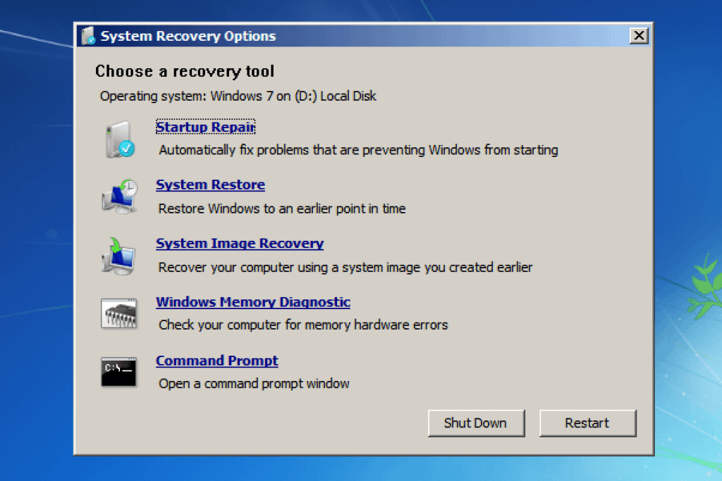 Opsi Di Dalam System Recovery Options