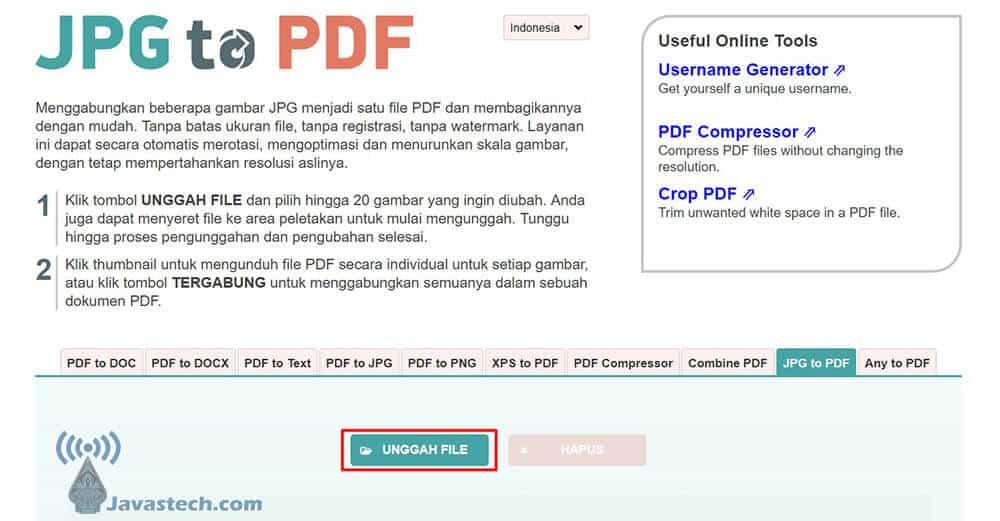 Unggah File dari Jpg2pdf