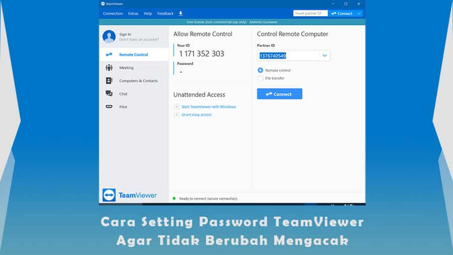 Cara Setting Password TeamViewer