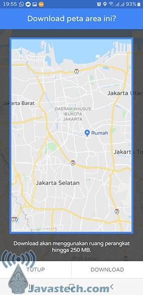 Tampilan Pilih Area Peta