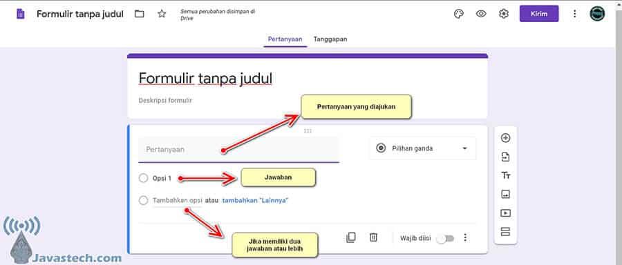 Bagian Pertanyaan Google Form