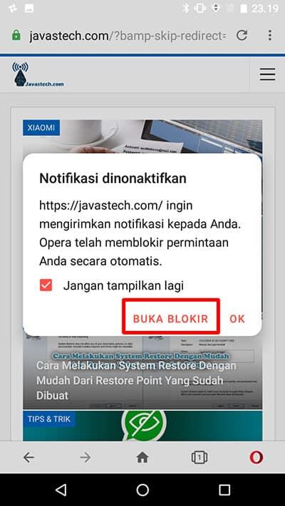 Buka Blokir Notifikasi