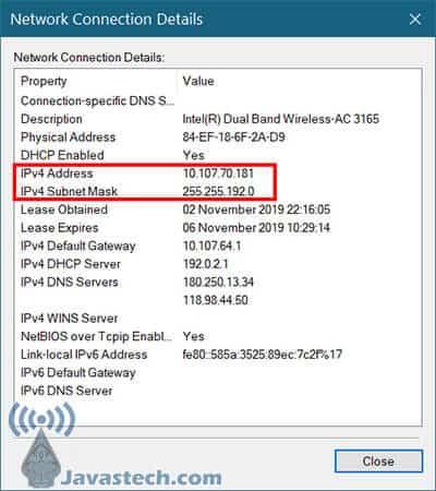 IP Address dari Control Panel