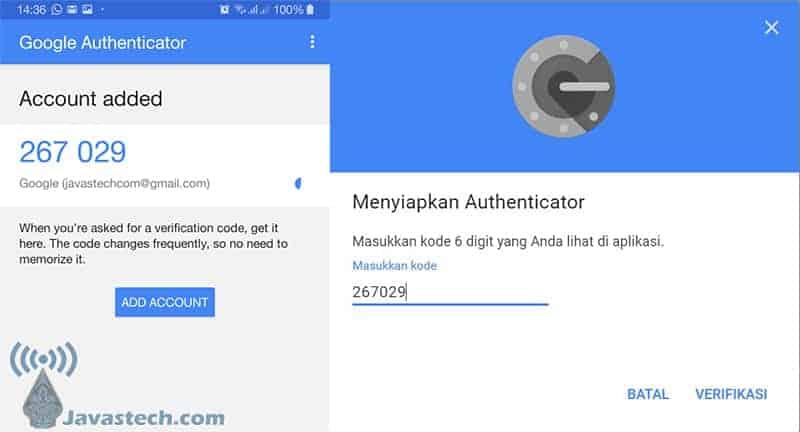 Masukan Kode Otentikasi dari Aplikasi Authenticator