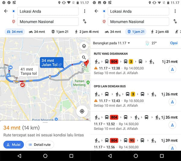 Transportasi di Google Maps