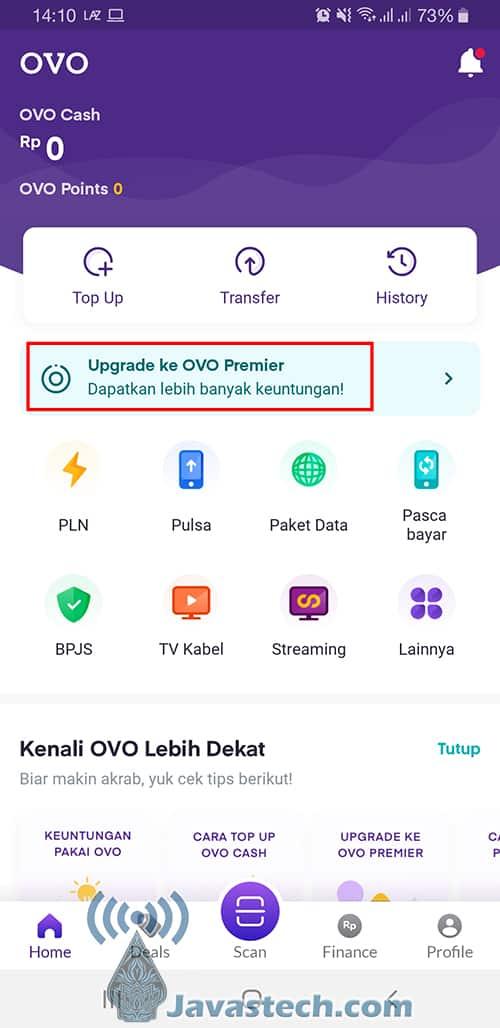 Opsi Upgrade Akun OVO Premier