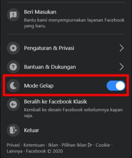 Mode Gelap Facebook Desktop