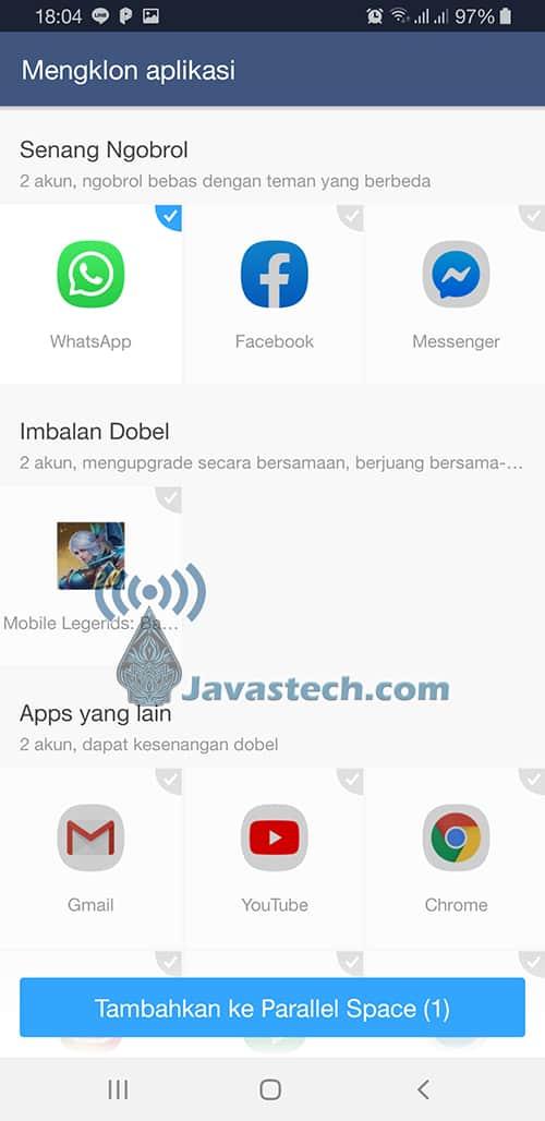 Pilih WhatsApp Untuk Digandakan