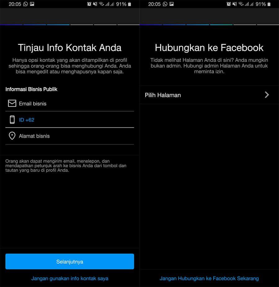 Info Kontak dan Hubungkan Instagram ke Facebook