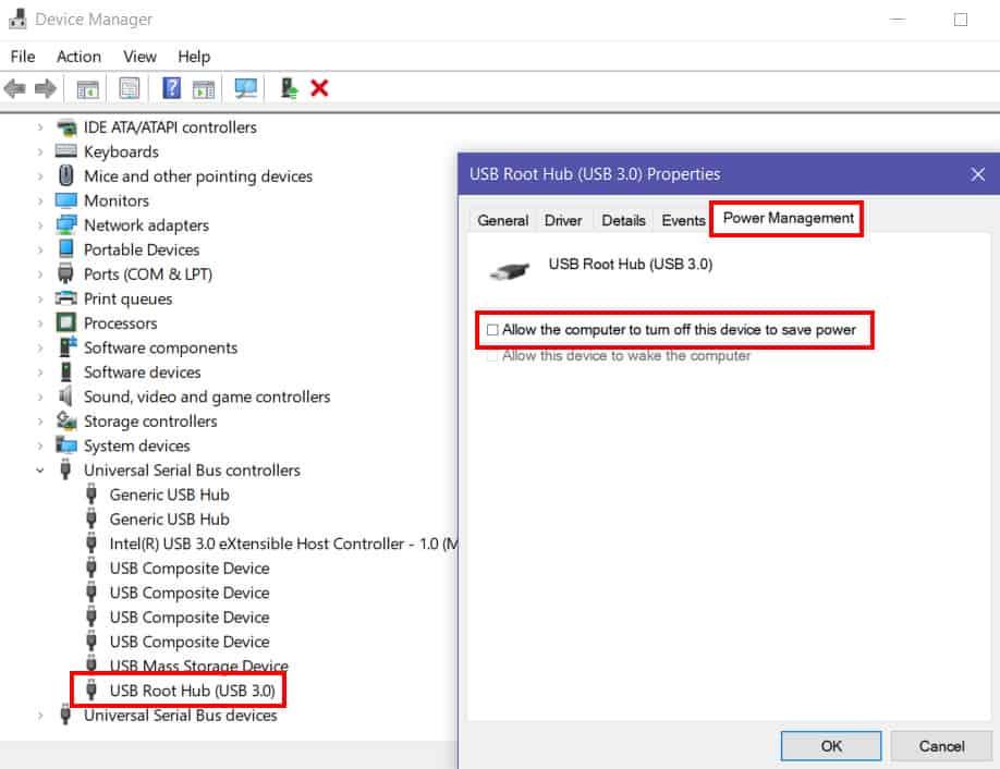 Nonaktifkan USB Root Hub