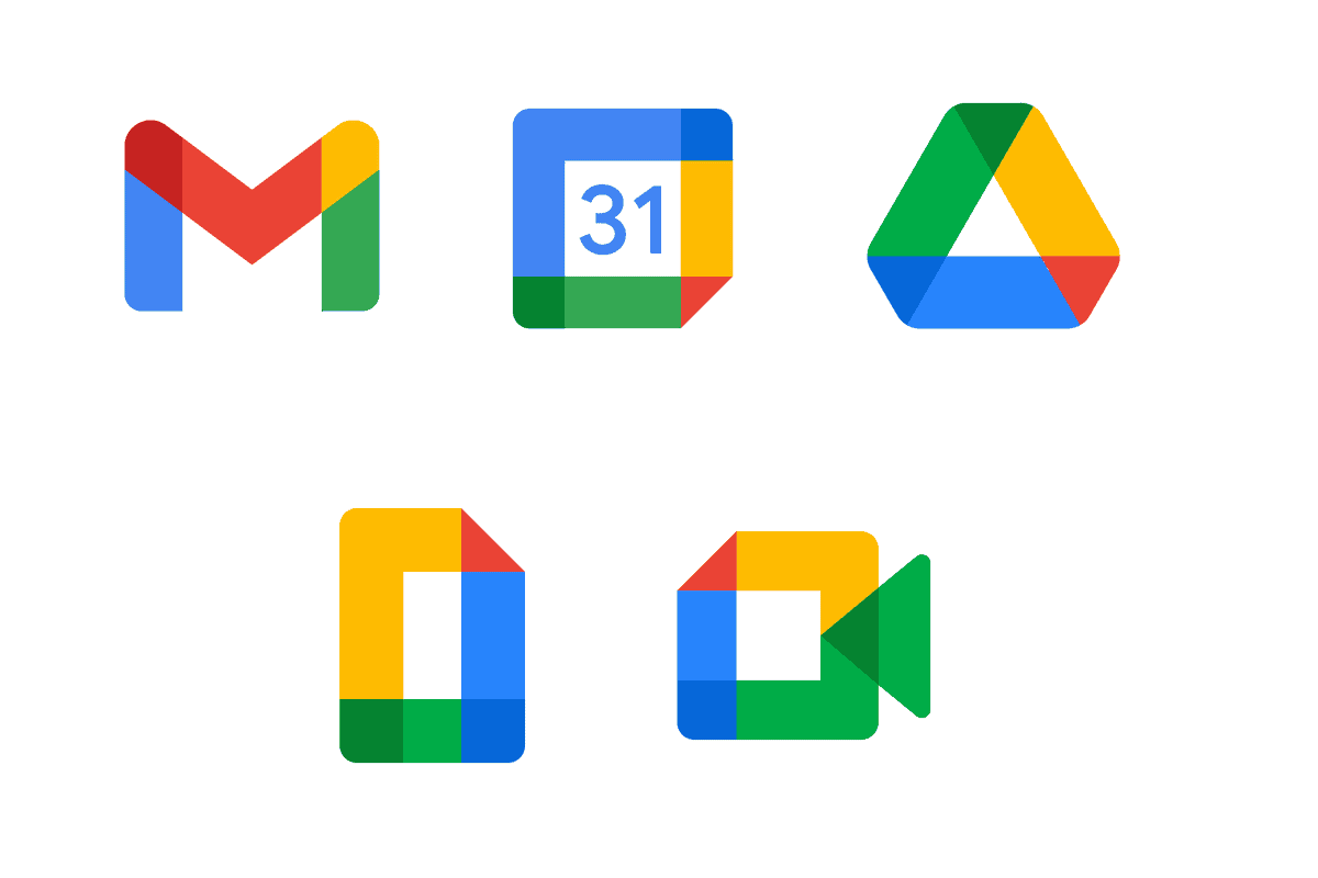 Logo baru layanan Gmail, Calendar, Drive, Document, Duo
