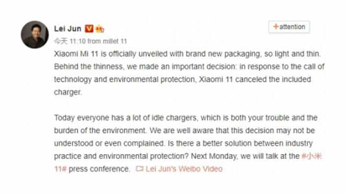 Akun Weibo CEO Xiaomi Soal Mi 11