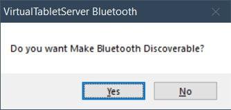 Bluetooth mode VirtualTablet Server