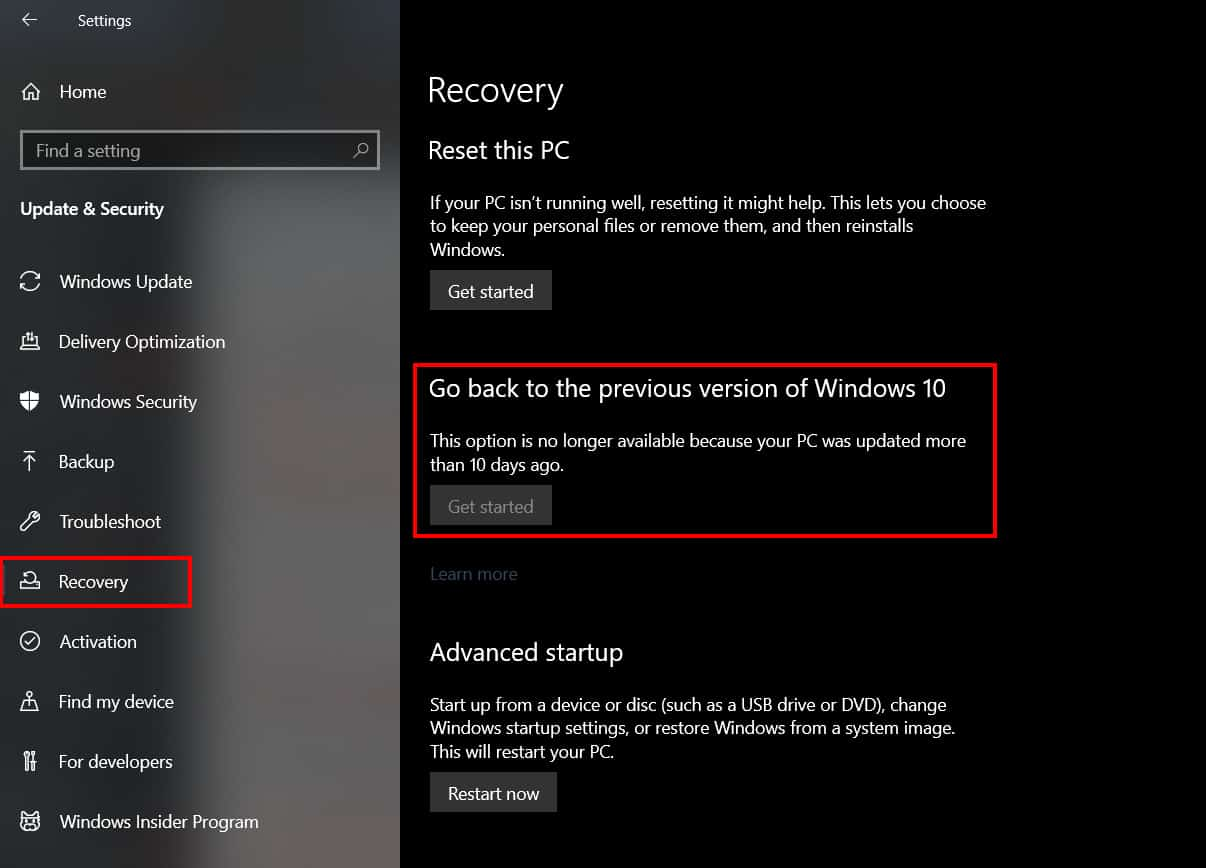 Restore versi Windows 10