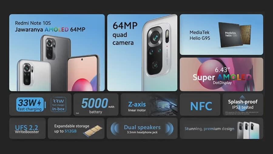 Spesifikasi Xiaomi Redmi Note 10s