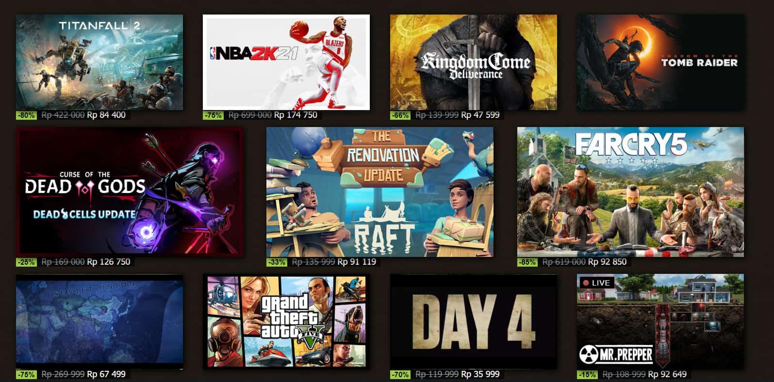 Daftar Diskon Game di Steam