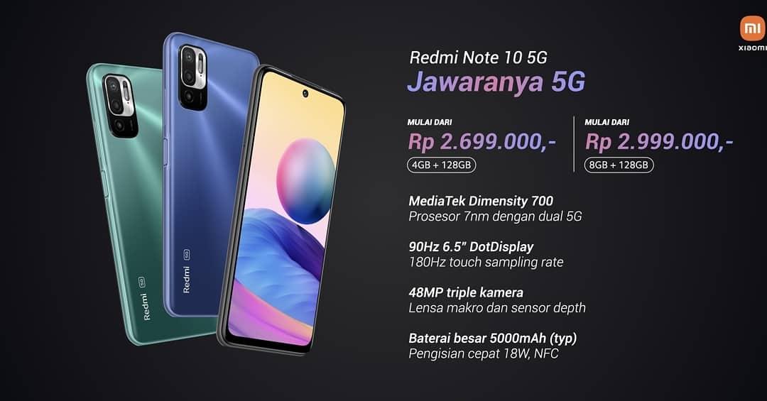 Spesifikasi Utama dan Harga Redmi Note 10 5G