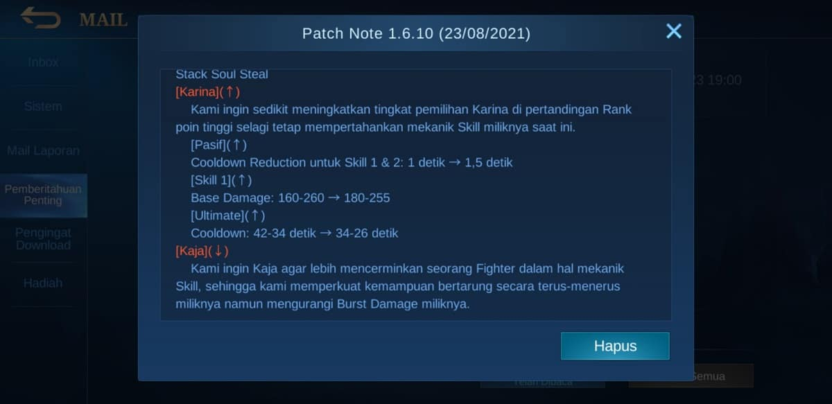 Penyesuaian Hero v1.6.10