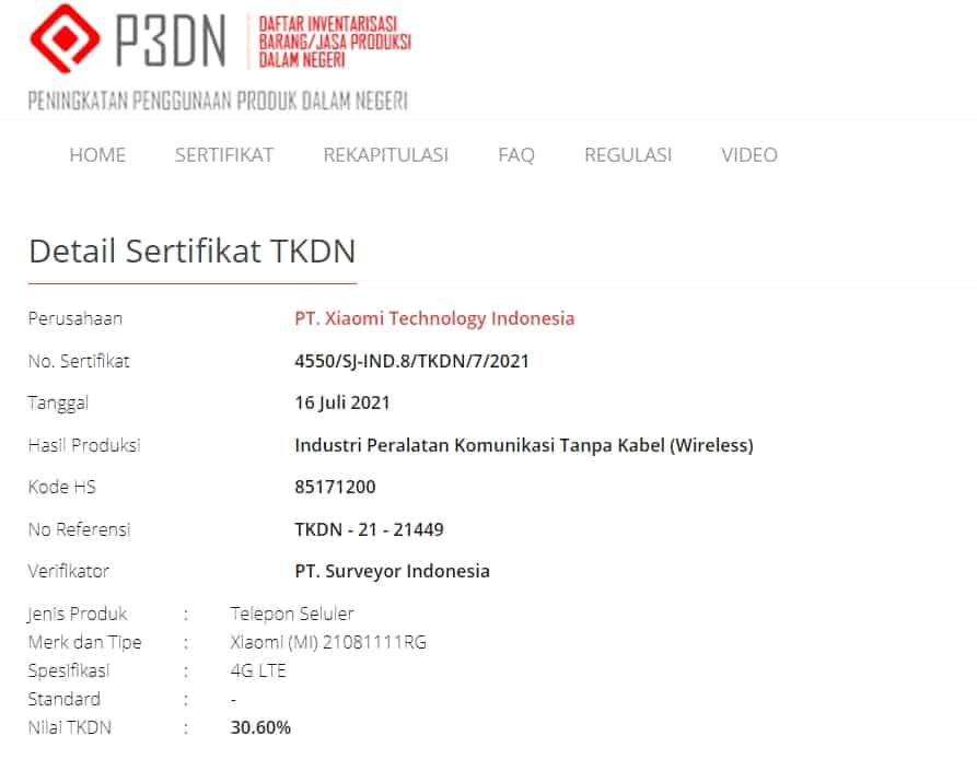 Sertifikasi TKDN Nomor 21081111RG